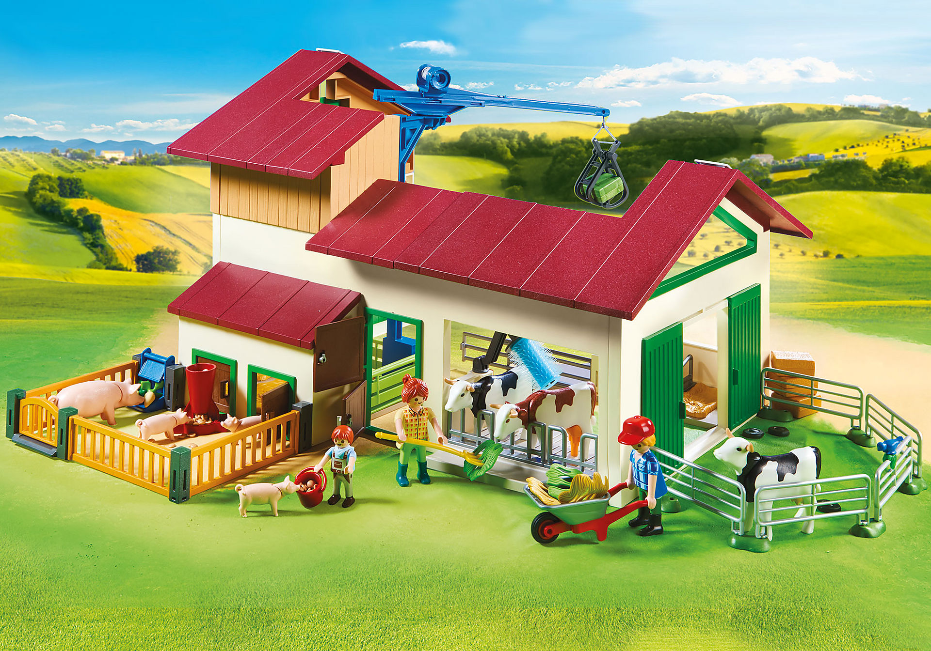 70132 Grande ferme avec silo et animaux zoom image7