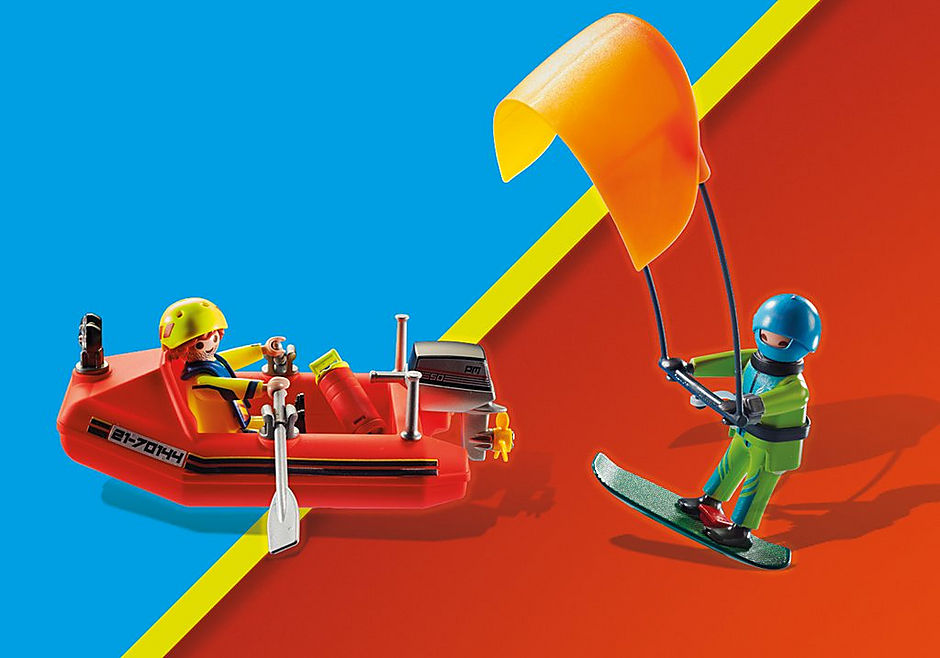 70144 Redding op zee: kitesurfersredding met boot detail image 6