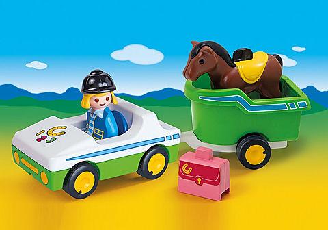 70181 Cavalière avec voiture et remorque