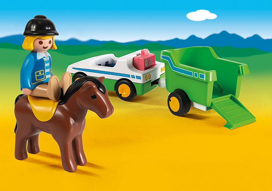 http://media.playmobil.com/i/playmobil/70181_product_extra1/Cavalière avec voiture et remorque
