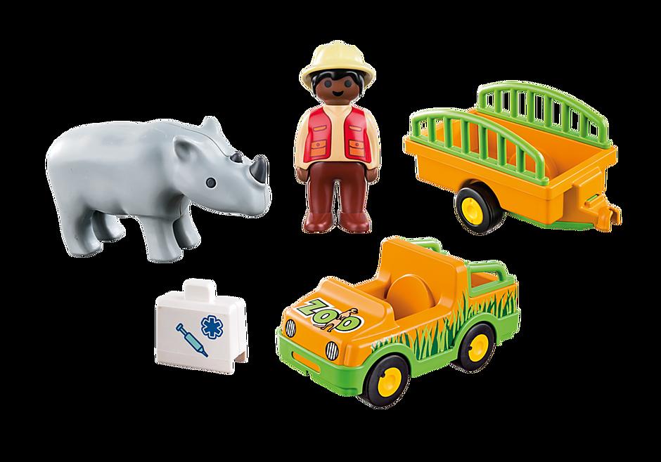 70182 1.2.3 Vehículo del Zoo con Rinoceronte detail image 3