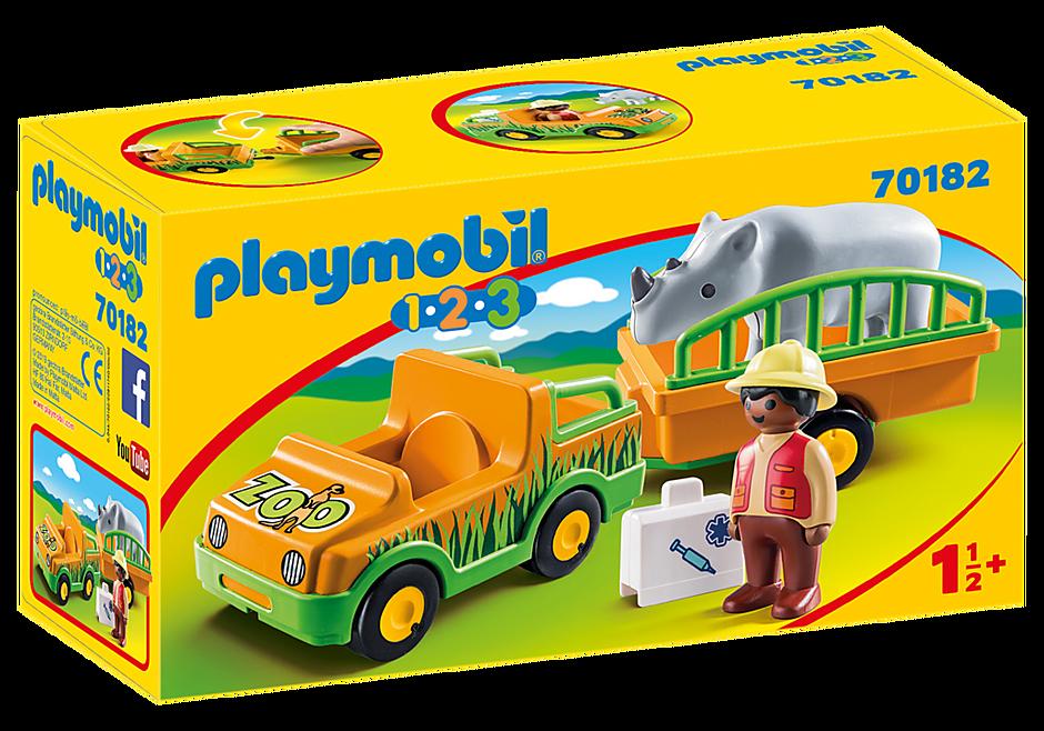 70182 1.2.3 Vehículo del Zoo con Rinoceronte detail image 2