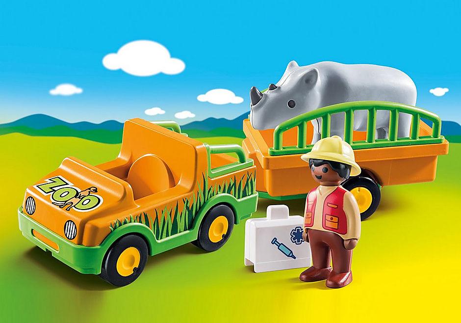 70182 1.2.3 Vehículo del Zoo con Rinoceronte detail image 1
