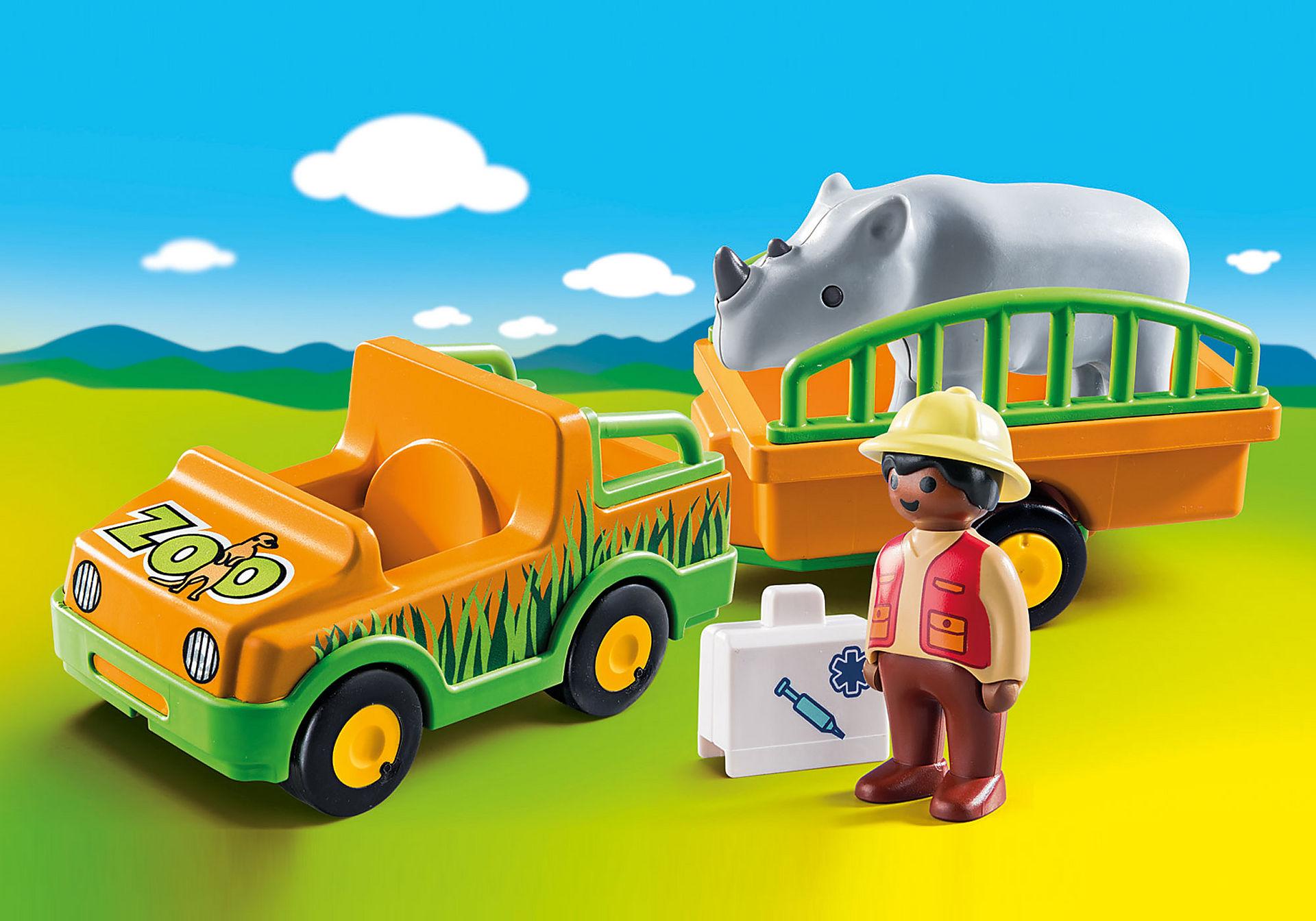 70182 1.2.3 Vehículo del Zoo con Rinoceronte zoom image1