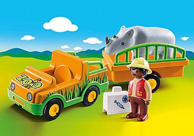 70182 Vétérinaire avec véhicule et rhinocéros