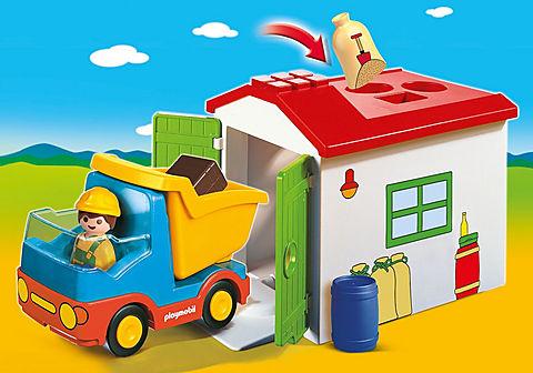 70184 Ouvrier avec camion et garage