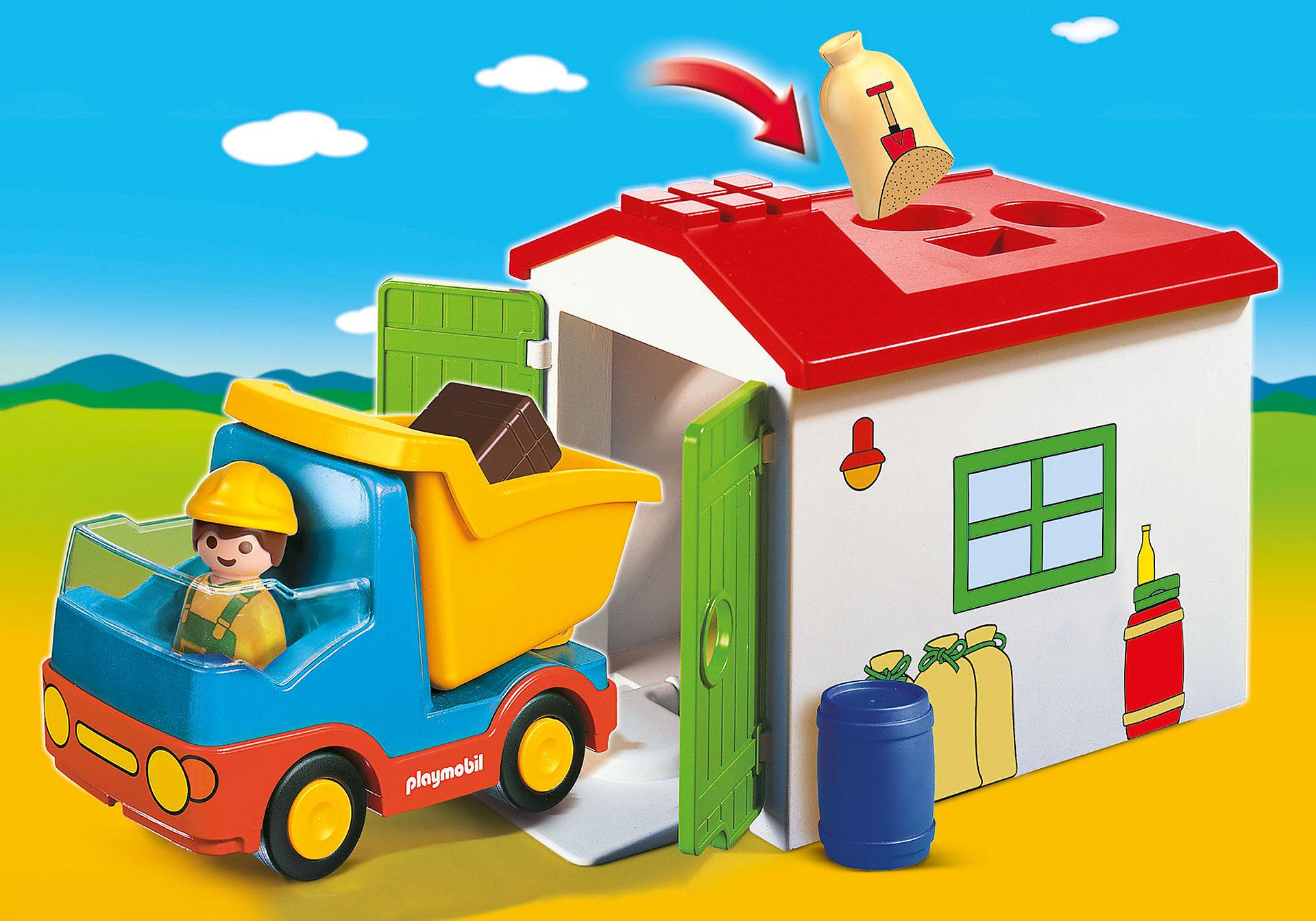 70184 Ouvrier avec camion et garage zoom image1