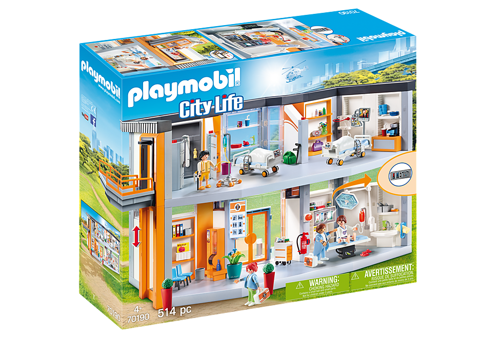 http://media.playmobil.com/i/playmobil/70190_product_box_front/Großes Krankenhaus mit Einrichtung
