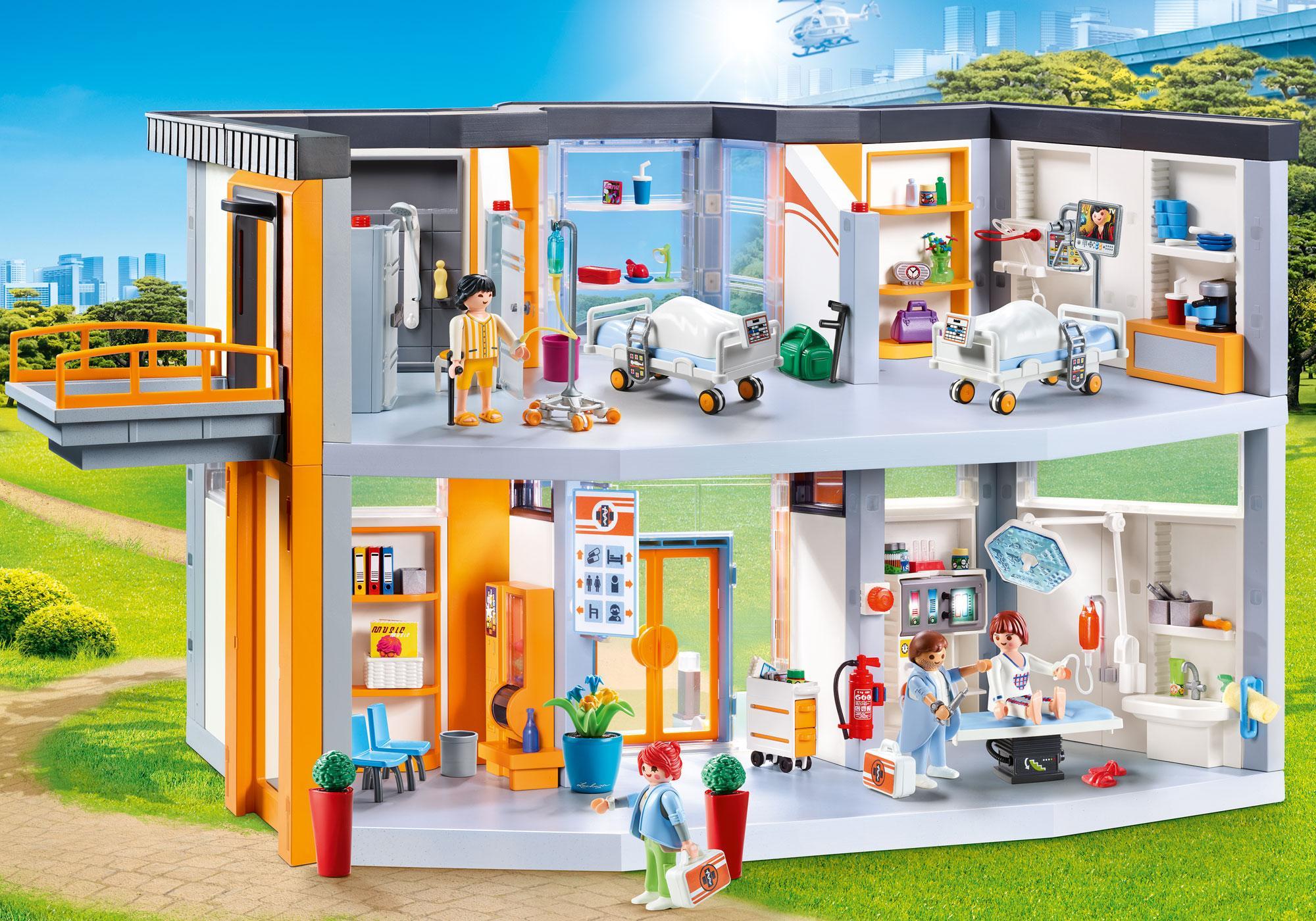http://media.playmobil.com/i/playmobil/70190_product_detail/Großes Krankenhaus mit Einrichtung