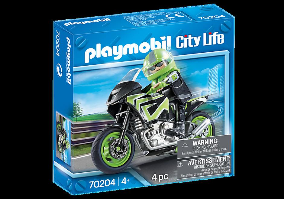 70204 Moto com motociclista detail image 2
