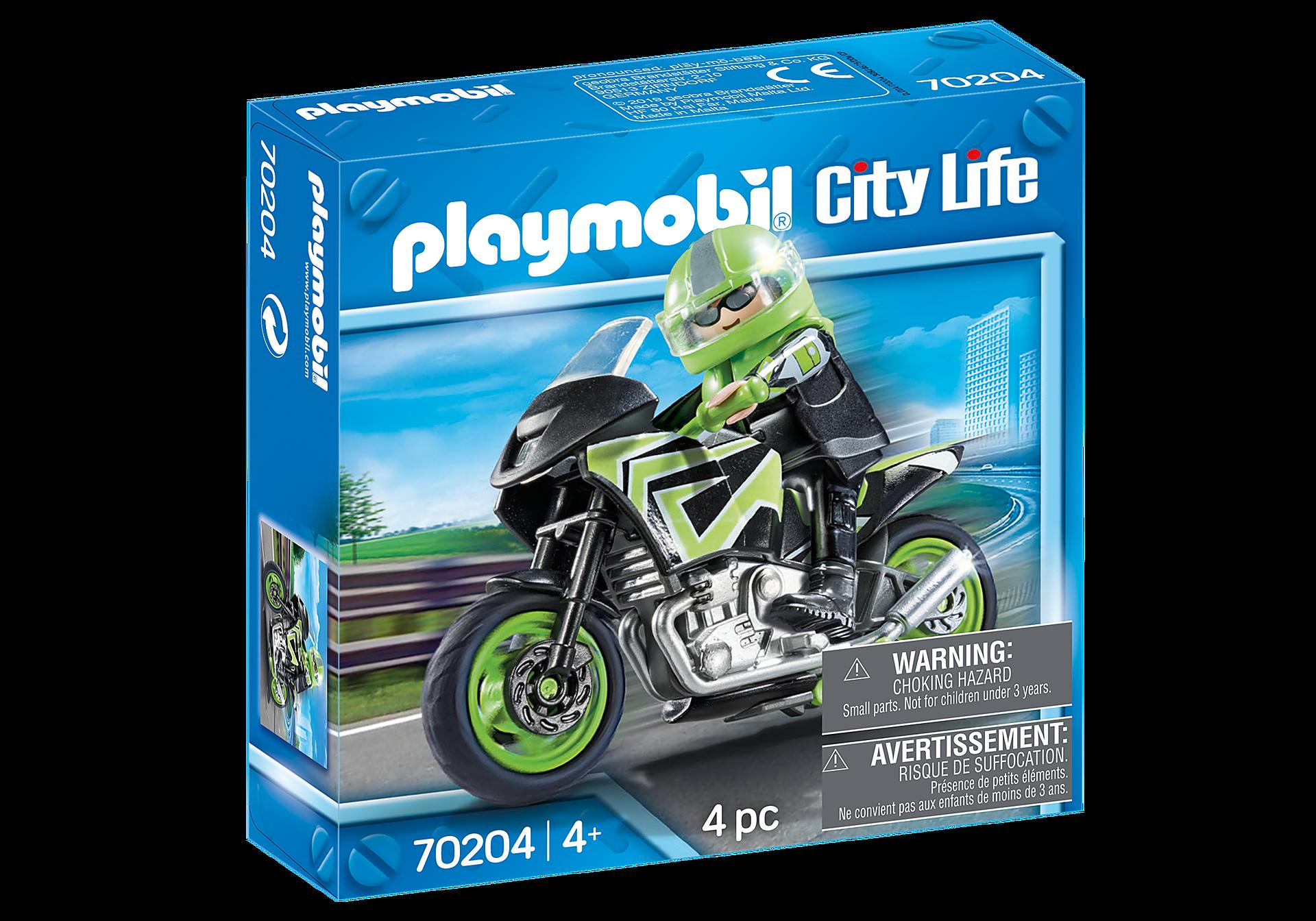 70204 Moto com motociclista zoom image2