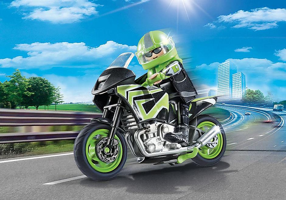 70204 Moto com motociclista detail image 1