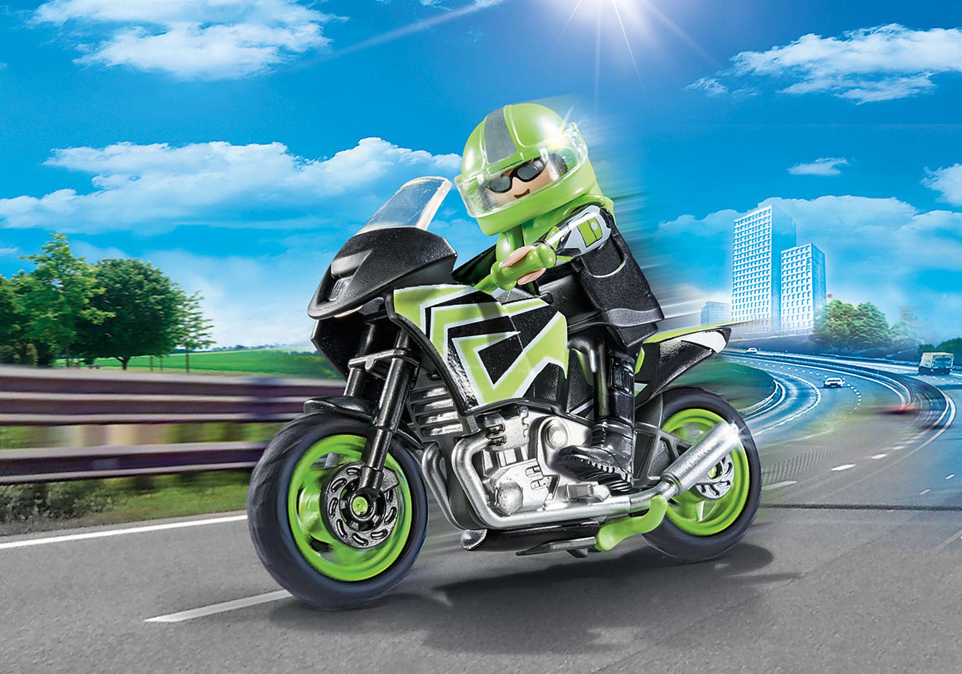 70204 Moto com motociclista zoom image1