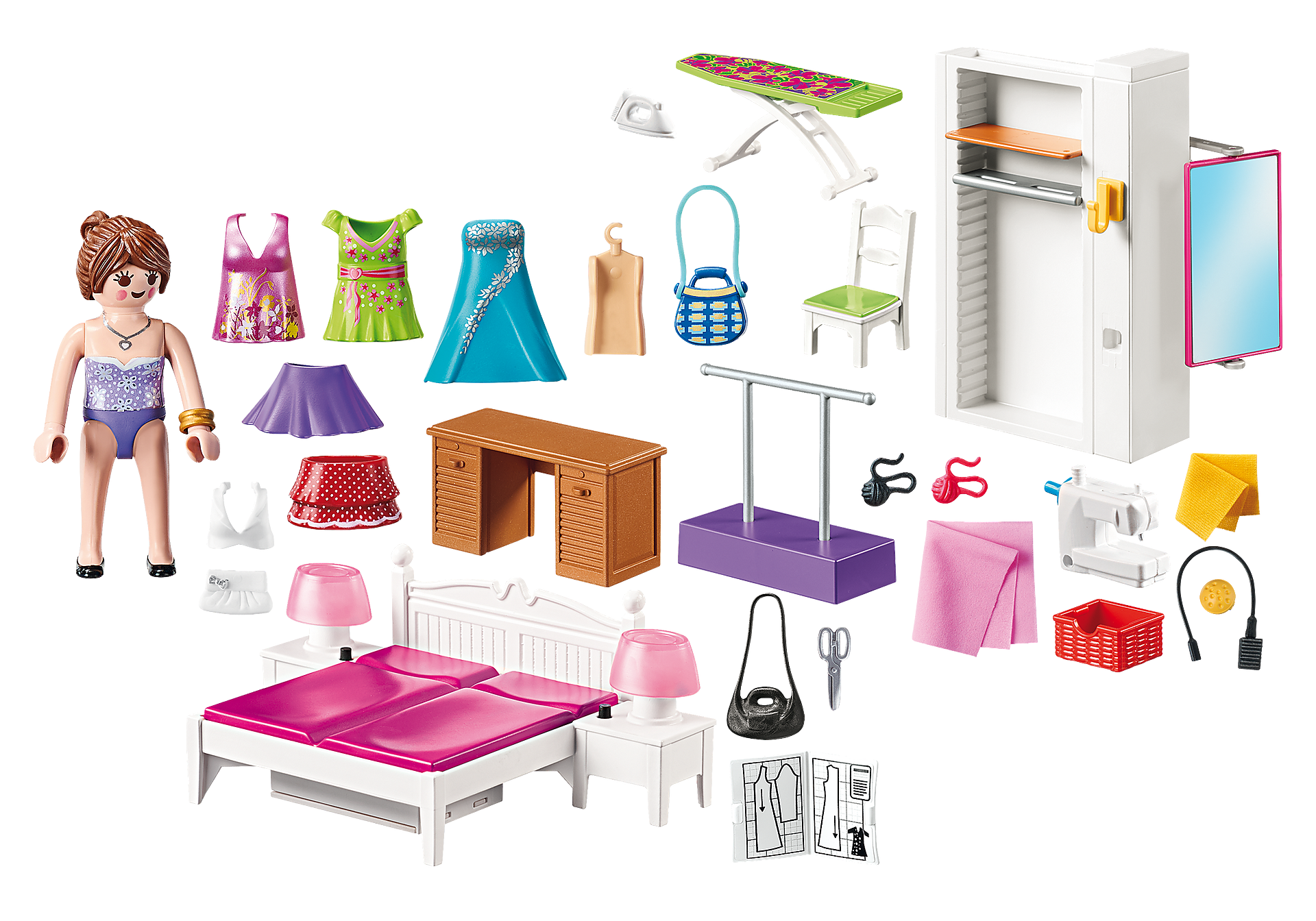 http://media.playmobil.com/i/playmobil/70208_product_box_back/Slaapkamer met mode ontwerphoek