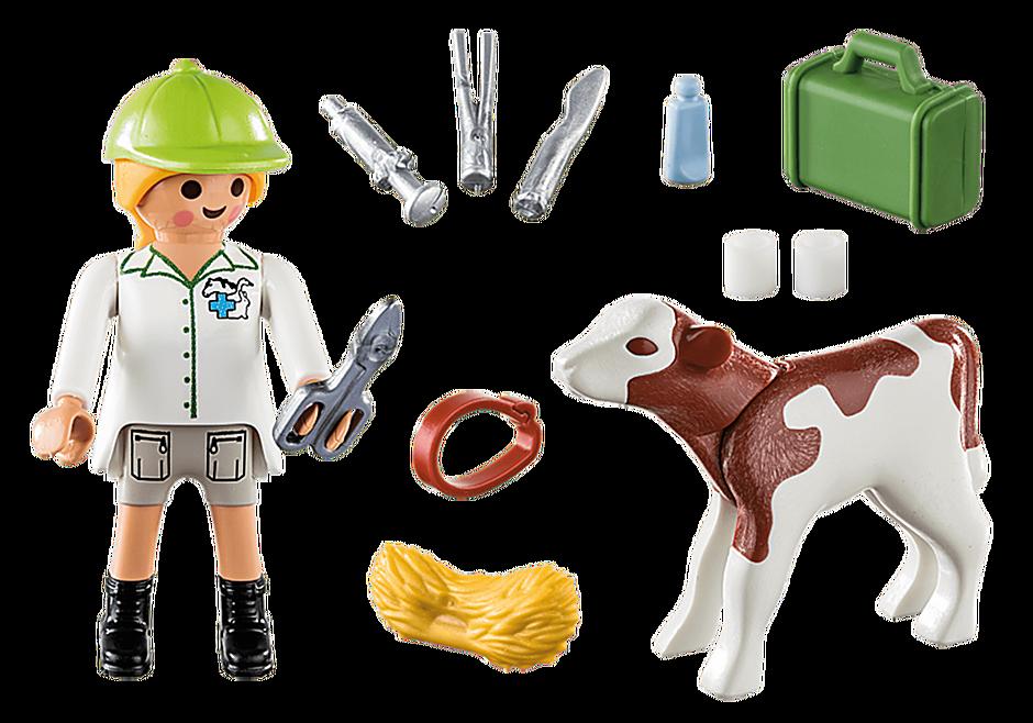 70252 Vétérinaire et veau detail image 3