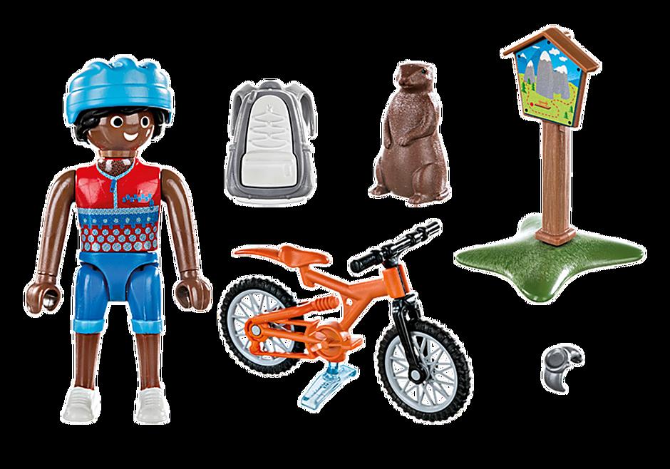 70303 Mountainbikeåkare cyklar i bergen detail image 3