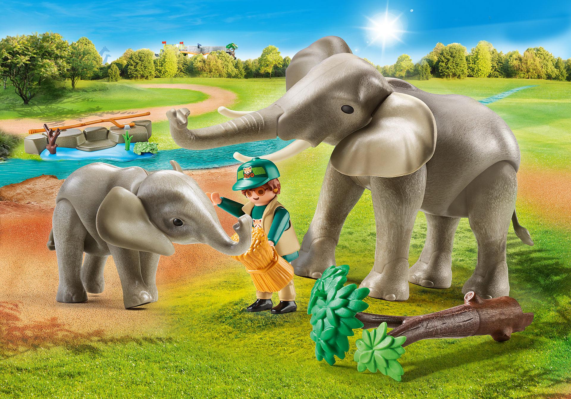 70324 Eléphants et soigneur  zoom image1
