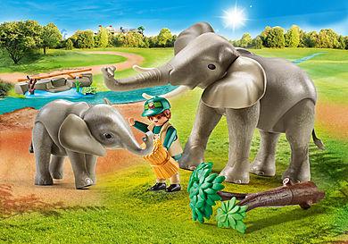 70324 Eléphants et soigneur