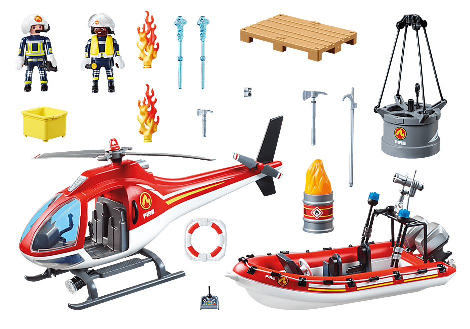 70335 Brigade de pompiers avec bateau et hélicoptère  detail image 3