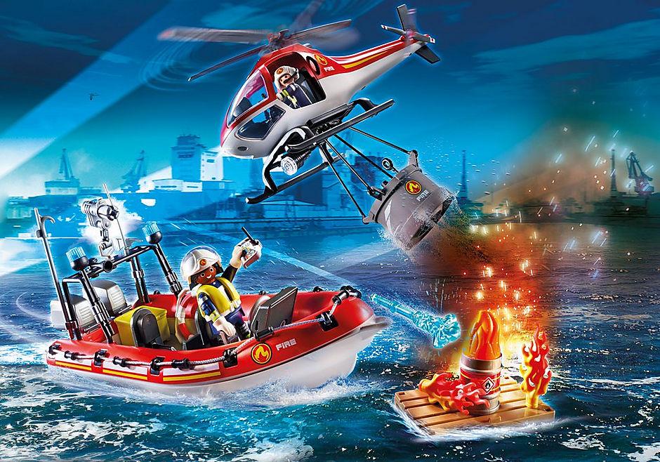 70335 Brigade de pompiers avec bateau et hélicoptère  detail image 1