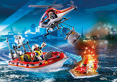 70335 Fire rescue helicopter and boat