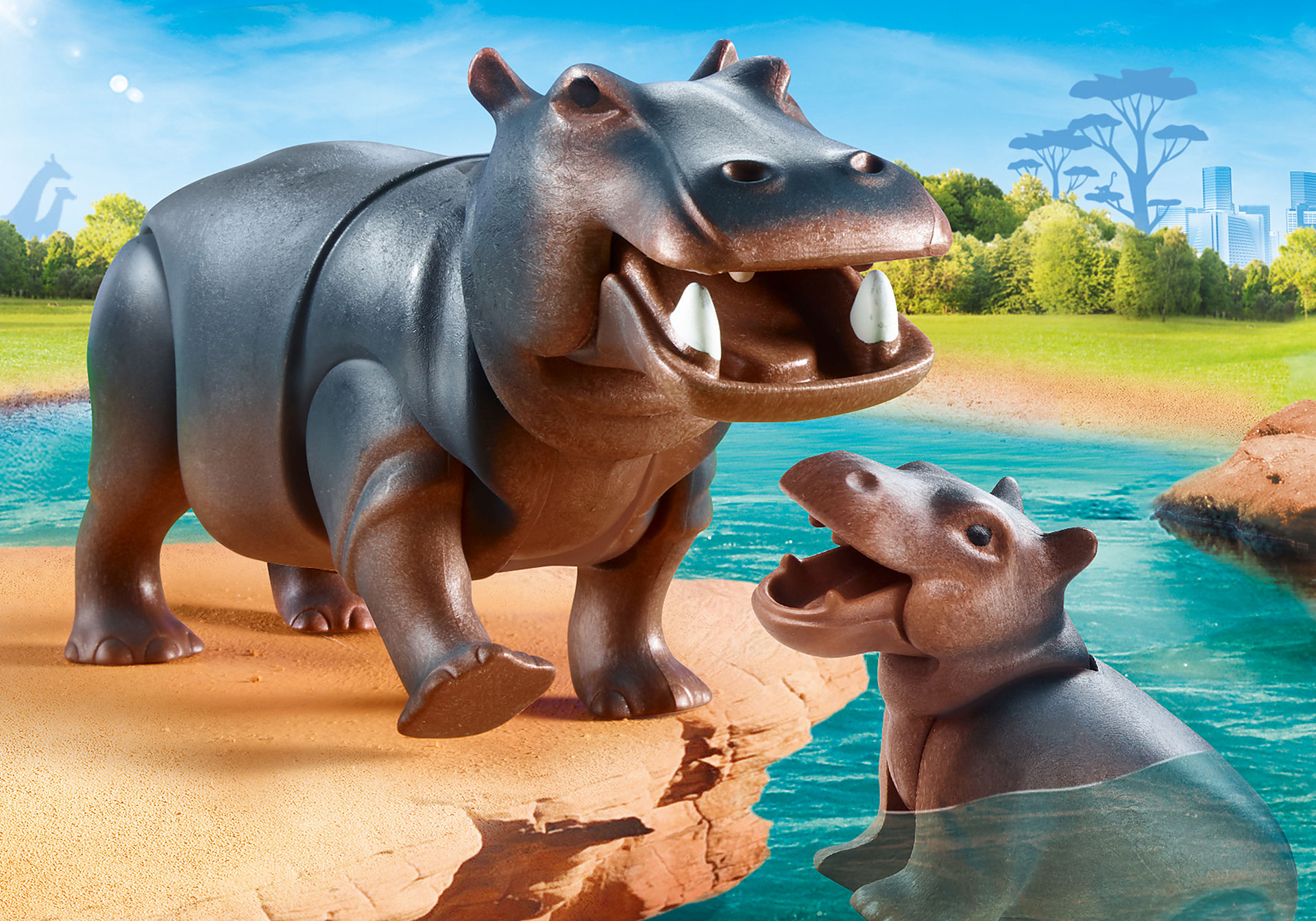 70354 Hippopotame et son petit zoom image1
