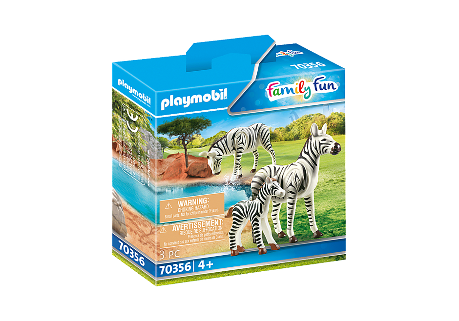 70356 2 Zebras mit Baby detail image 2