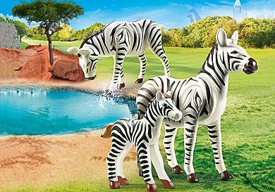 70356 2 Zebras mit Baby