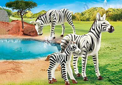 70356 Två zebror med unge