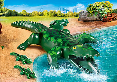 70358 Alligator med ungar