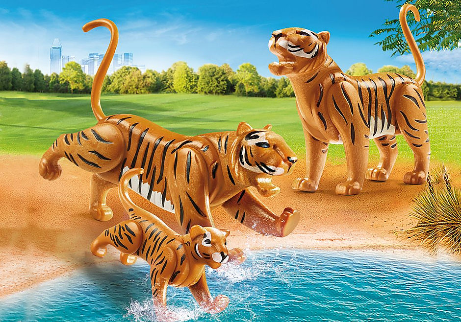 70359 Två tigrar med unge detail image 1