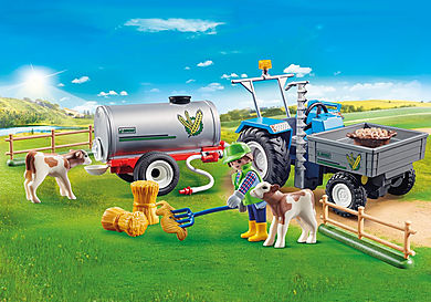 70367 Agriculteur avec faucheuse et citerne
