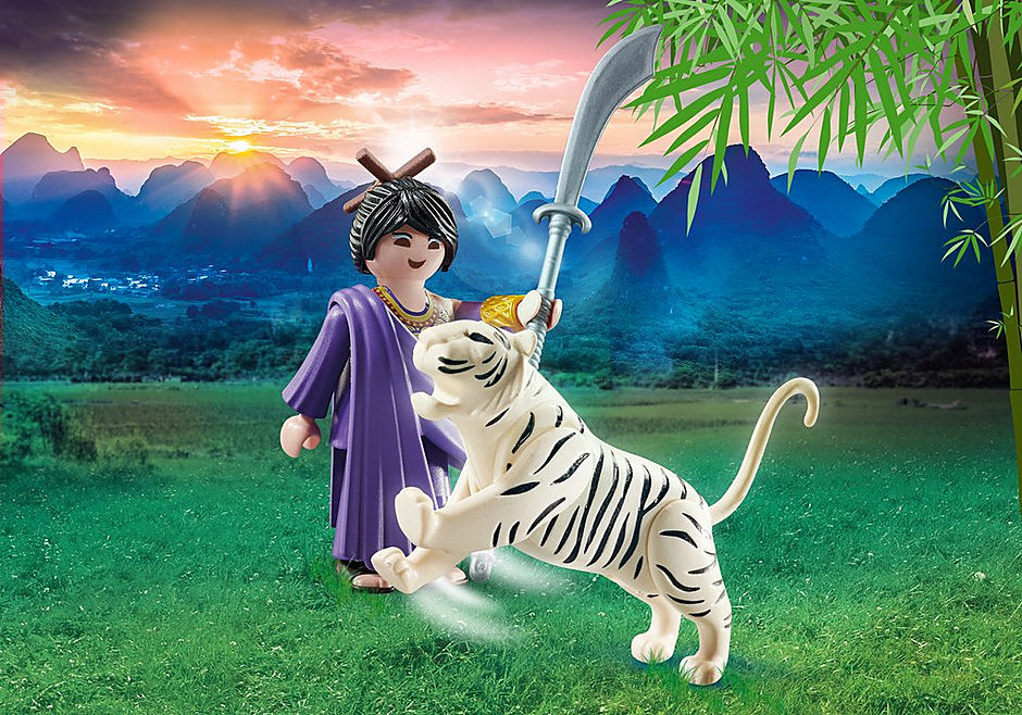 70382 Aziatische vechter met tijger detail image 1