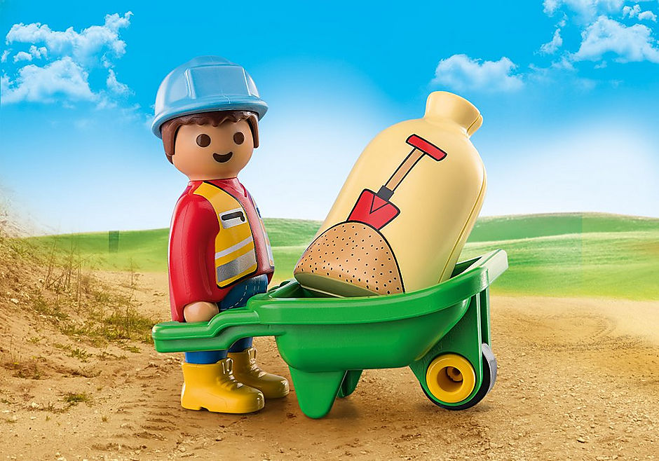 70409 Construction Worker with Wheelbarrow detail image 1