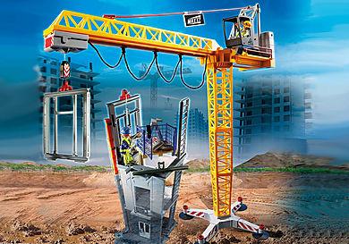 70441 Radiostyrt byggekran med bygningsdel