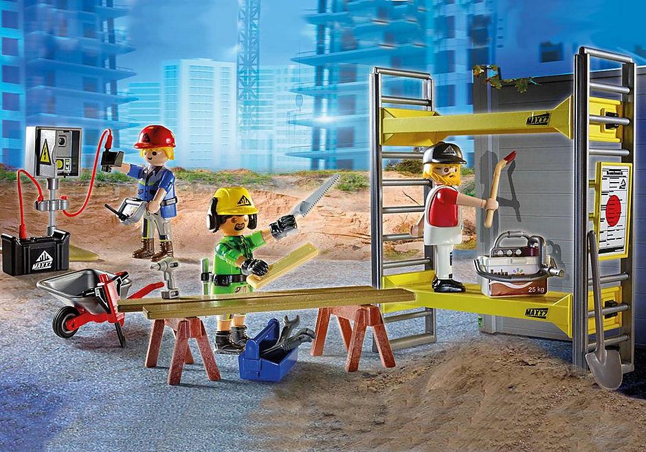 70446 Rakennusteline ja työläiset detail image 1