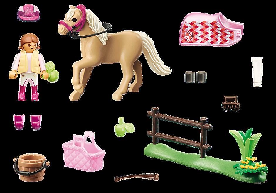 70521 Cavalière avec poney beige detail image 3