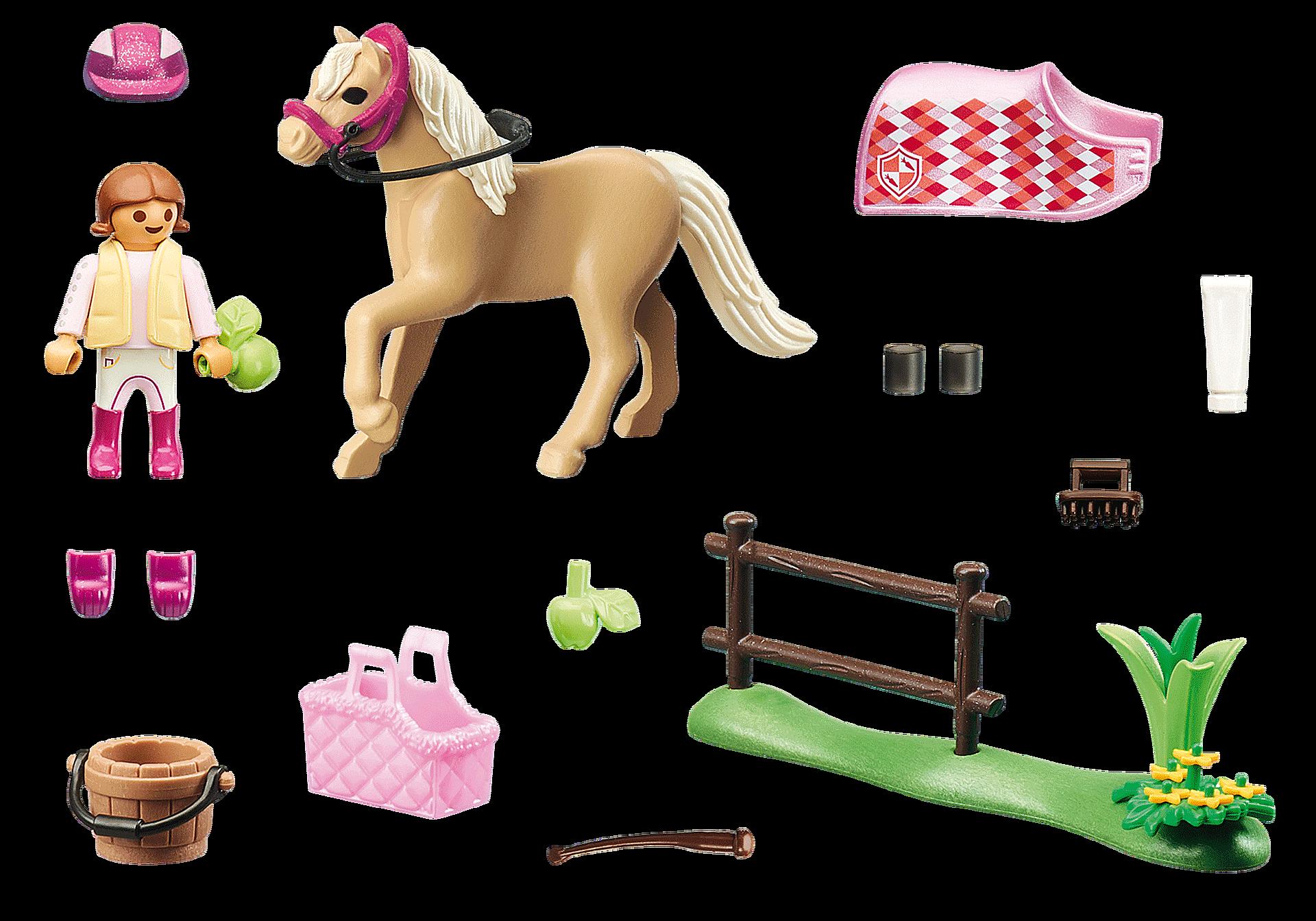 70521 Cavalière avec poney beige zoom image3