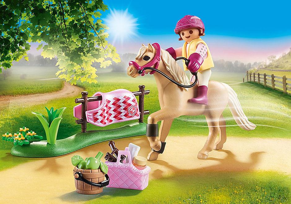 70521 Cavalière avec poney beige detail image 1