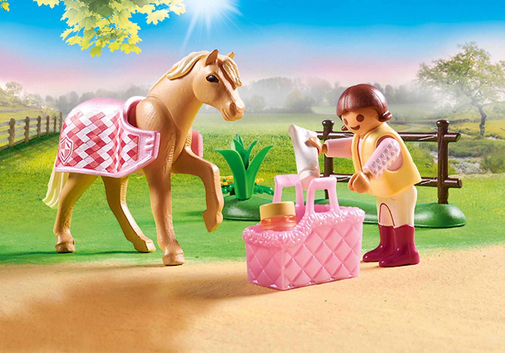 70521 Cavalière avec poney beige zoom image4