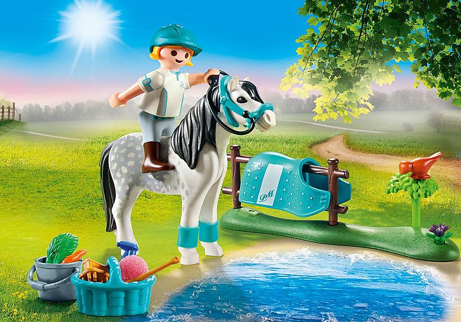 70522 Cavalière avec poney gris detail image 1