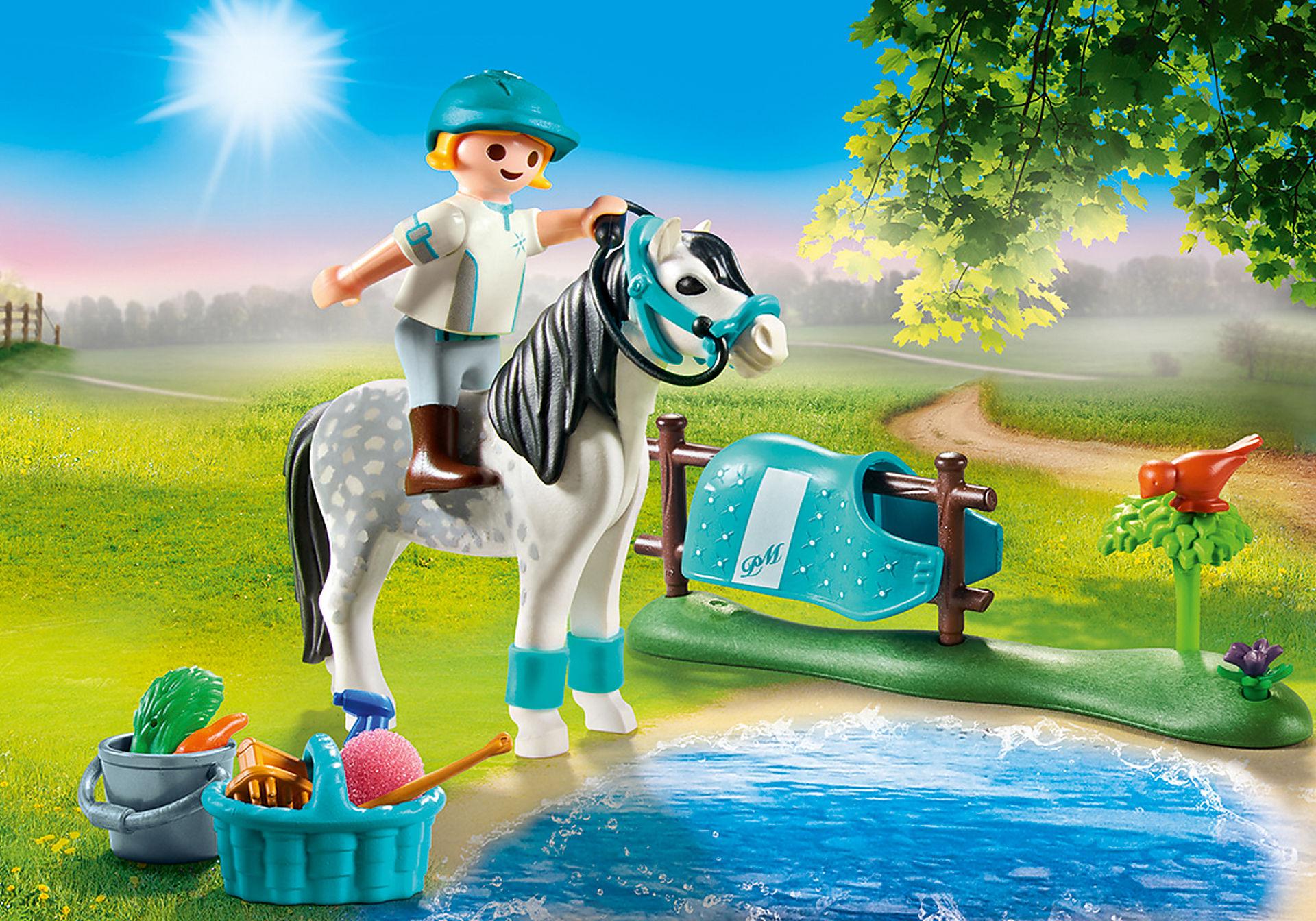 70522 Cavalière avec poney gris zoom image1