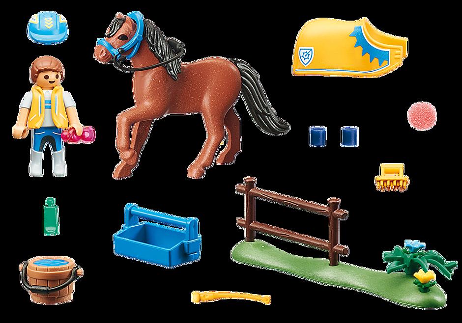 70523 Cavalier avec poney brun detail image 3