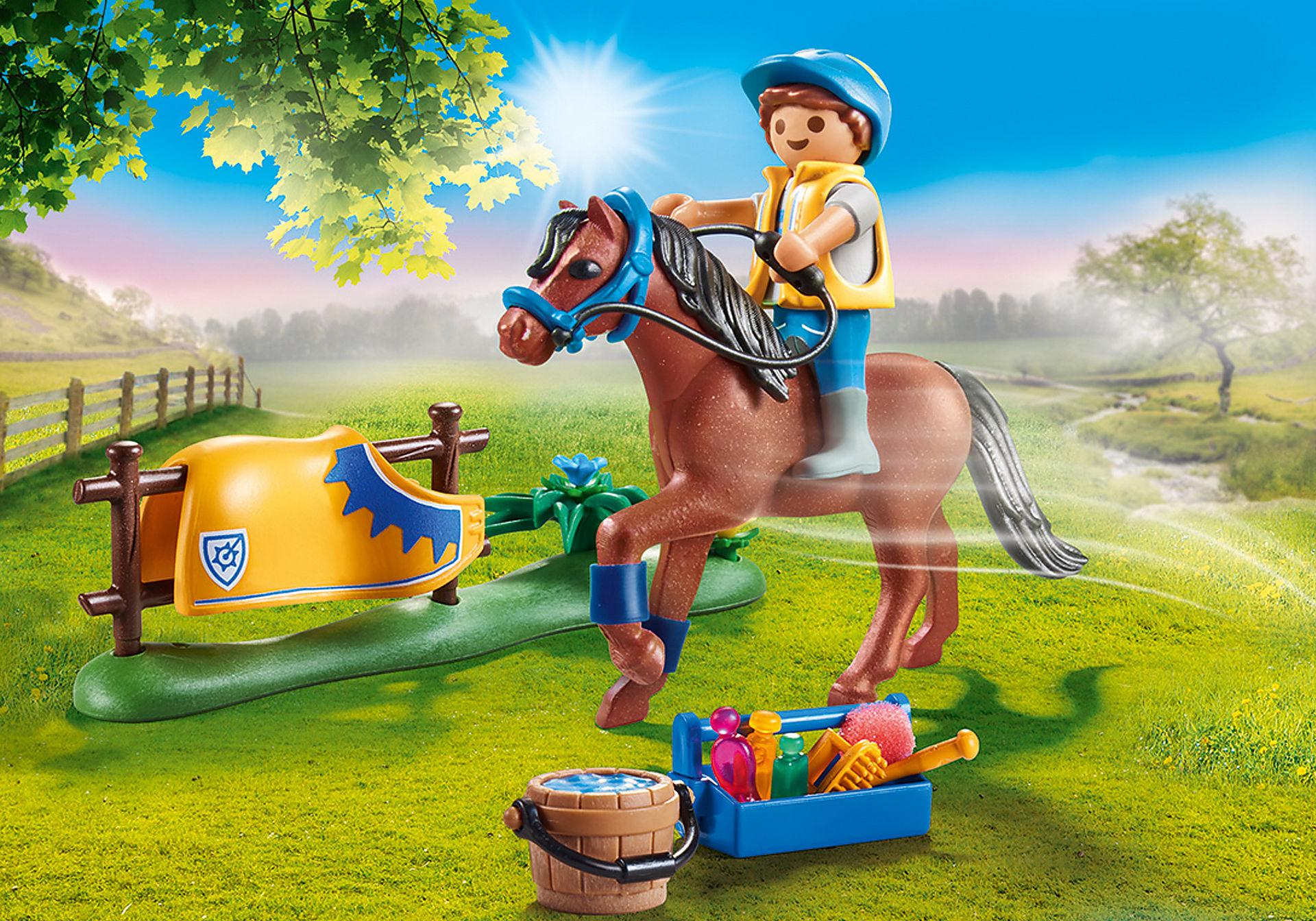 70523 Cavalier avec poney brun zoom image1