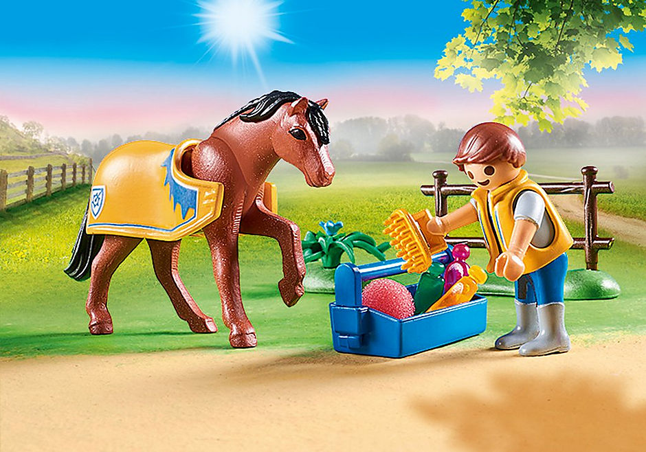 70523 Cavalier avec poney brun detail image 4