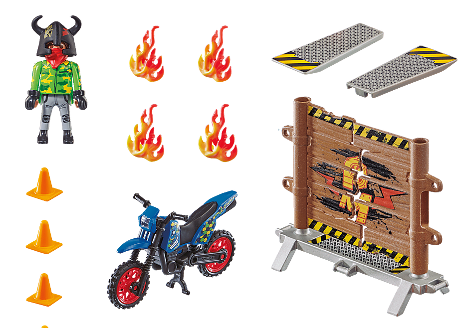 70553 Stuntshow Motorcykel med brandmur detail image 3