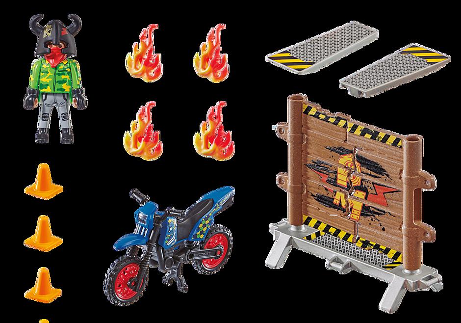 70553 Stuntshow Pilote de moto et mur de feu detail image 3