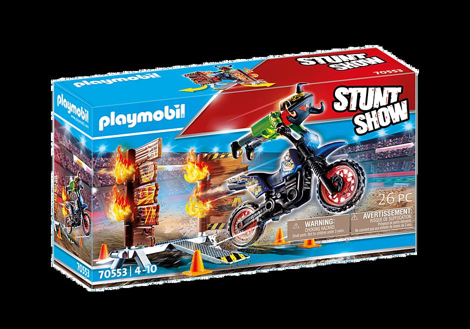70553 Stuntshow Pilote de moto et mur de feu detail image 2