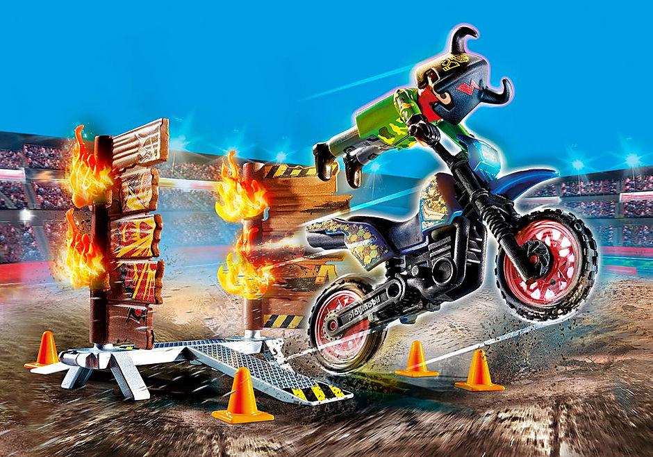 70553 Stuntshow Pilote de moto et mur de feu detail image 1