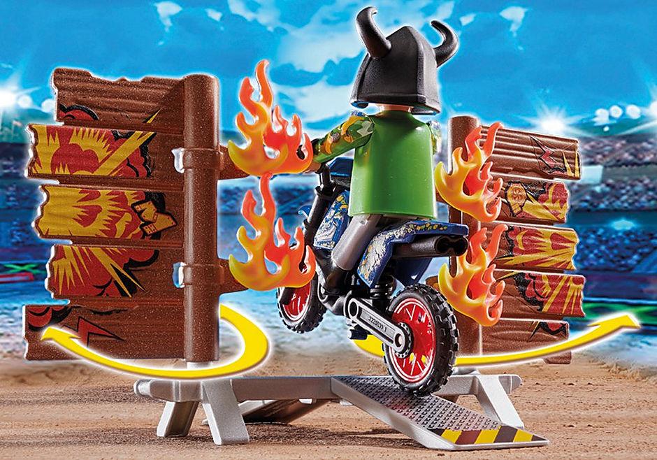 70553 Stuntshow Pilote de moto et mur de feu detail image 4
